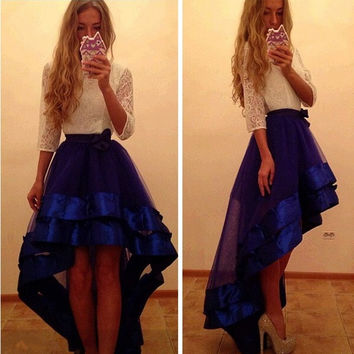 Sex Women Sleeved White lace Short Front Long Back High waist Blue skirt Formal Club Party Evening Cocktail Celebrity Party Dress = 1932328580