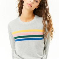 Heathered French Terry Striped-Trim Sweater