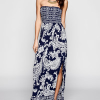 Angie Paisley Print Smocked Maxi Dress Blue  In Sizes