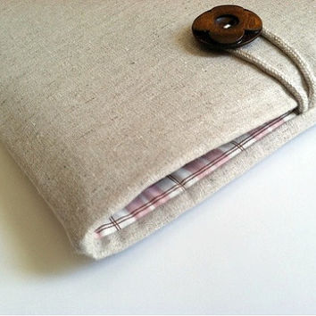 iPad Cover Case, Nexus 10, Galaxy, Lenovo, Android or Custom Size Fit for Tablets - Linen and Pink