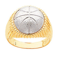 14k gold two tone basketball men's ring.
