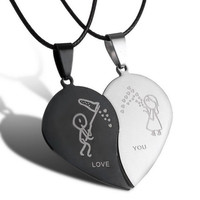 Black Cord Necklace Stainless Steel Engrave Love You Pendants Necklace Jewelry 2PCS Couple Broken Heart Choker Necklaces SM6