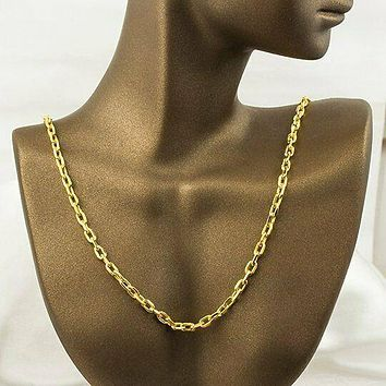 SOLID 8K Yellow Gold Thick Oval Forse Pendant Necklace Chain 21 Inch
