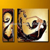 2 Piece Abstract Wine Oil Painting Canvas
