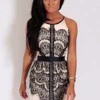 Orlagh Nude & Black Lace Mini Dress | Pink Boutique