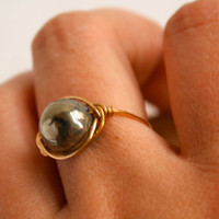 Pyrite Round Ring Gold Tone Wire Wrapped Ring Custom Size