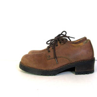 STOREWIDE SALE...Vintage brown leather chunky oxfords lace up // women's shoes size 8