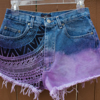 High Waisted Dip Dyed Purple Shorts