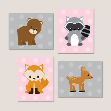 Woodland Nursery Decor Woodland Animals Woodland Creatures Pink Gray Girl Nursery Decor Wall Art Deer Bear Fox Set of 4 Prints Or Canvas