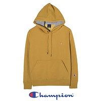 Champion New fashion embroidery logo hooded long sleeve sweater top Yellow