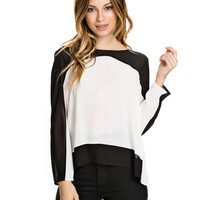 Contrast Chiffon Long Sleeve Top
