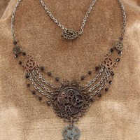 Steampunk Antique Multi Gear Chain Costume Necklace Mix Adult