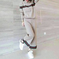 """Gucci"" Women Casual Multicolor Stripe Knit Long Sleeve Hooded Sweater Wide Leg Pants Set Two-Piece Sportswear"