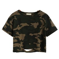 Camouflage Distressed Crop Top