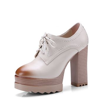 Lace Up Platform High Heels Chunky Shoes Woman