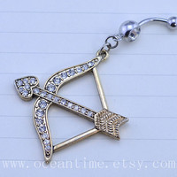 bling bow and arrow Belly Button Rings,bow Navel Jewlery,belly button ring, belly button ring,bestfriend belly ring,Love's Arrow