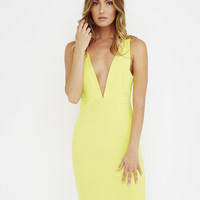IN TOO DEEP ZIPPERED BODY CON DRESS - YELLOW