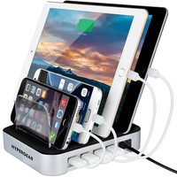 HyperGear 4-Port USB Charging Station Dock, Organizer for iPhone 7/7 Plus, 6/6s/Plus, 5S/5C/5/4S, iPad Pro/Air/Mini/3/2/1, Samsung Galaxy S6 Edge/S6/S5/S4/S3/Note/Note2/Tab, iPod, Nexus, HTC, and more