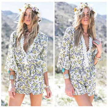 Floral Print Lace Patch V-Neck Flared Sleeve Romper