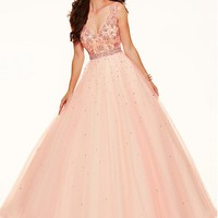[104.16] Graceful Tulle V-neck Neckline Ball Gown Quinceanera Dresses With Beadings #selectprom - dressilyme.com
