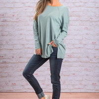 Casual And Quiet Top, Teal
