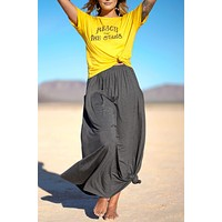 Pocketed Maxi Skirt - Charcoal