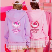 Strawberry Milk Cute Women's Casual Winter Long Sleeve Hoodies Sweatshirt Zipper Jacket Loose Style Pink & Lavendar
