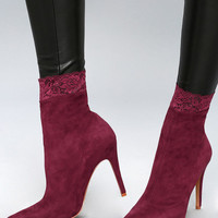 Raylin Wine Suede Lace Mid-Calf Sock Booties