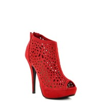 Red Suede 'Edel' Cut Out High Heel Bootie