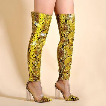 Women Printed Fashion Transparent Clear Square Heel Thigh High Boots
