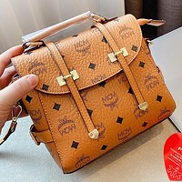 MCM New fashion more letter leather shoulder bag crossbody bag handbag Brown