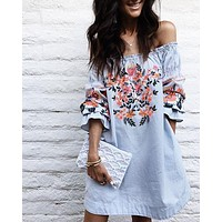 Fashion Off Shoulder Long Sleeve Flowers Print Mini Dress