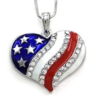 4th of July USA US Flag Heart Star Pendant Necklace Charm Women Fashion Jewelry