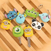 Car StylingHigh quality Kawaii Cartoon Animal Silicone Key Caps Covers Keys Keychain Case Shell Novelty Item KCS
