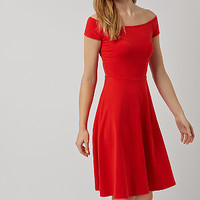 Red Bardot Neck Midi Skater Dress