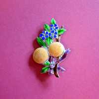 Enamel Floral Brooch, Antique, Oranges & Forget-Me-Nots Pin, Bouquet with Ribbon, Victorian, Edwardian