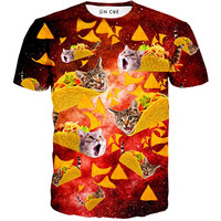 Tacos and Cats Red T-Shirt