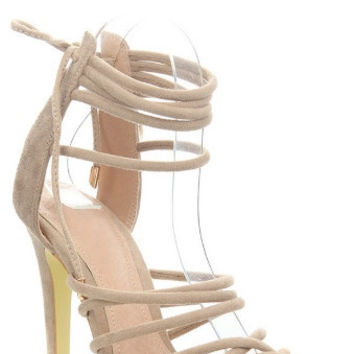 """""""Adelina"""" Faux Suede Strappy Ankle Tie High Heel Sandals - Nude"""
