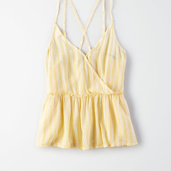 AE Striped Cross-Front Cami, Yellow
