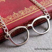 Glasses frame necklace-silver cute glasses necklace, alloy necklace,gift to friend