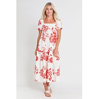 Moodie Squareneck Floral Tiered Dress