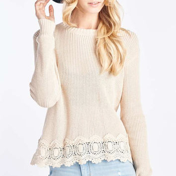 Tan Knit Sweater With Lace Trim