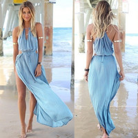 Summer Women Bandage V-Neck Beach Boho Maxi Sundress Long Dress AP = 5657676097