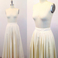 Skirt with pockets- White maxi skirt- Ivory long skirt- Pleated skirt- Cotton skirt- Extra Small- 1960s