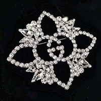 GUCCI Hot Sale Stylish Women Men Shiny Zircon Diamond Brooch Accessories Jewelry