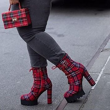 Women Platform Plaid Print Square High Heel Ankle Boots