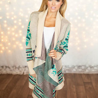 Turquoise and Brown Designed Sweater