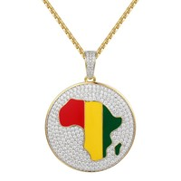 Africa Map Round Charm Iced Out Pendant Chain