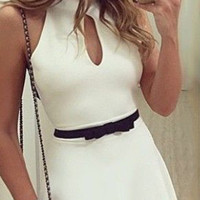 Casual Halter Neck Lace Strap Backless Flounce Mini Dress With Belt