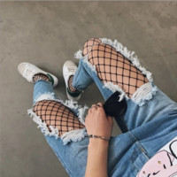 Personality Fashion Hollow Ripped Worn Tassel Edge Jeans Pants Trousers